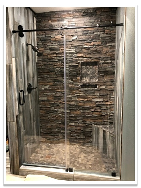 Shower with Norwich Stacked Stone in Earth