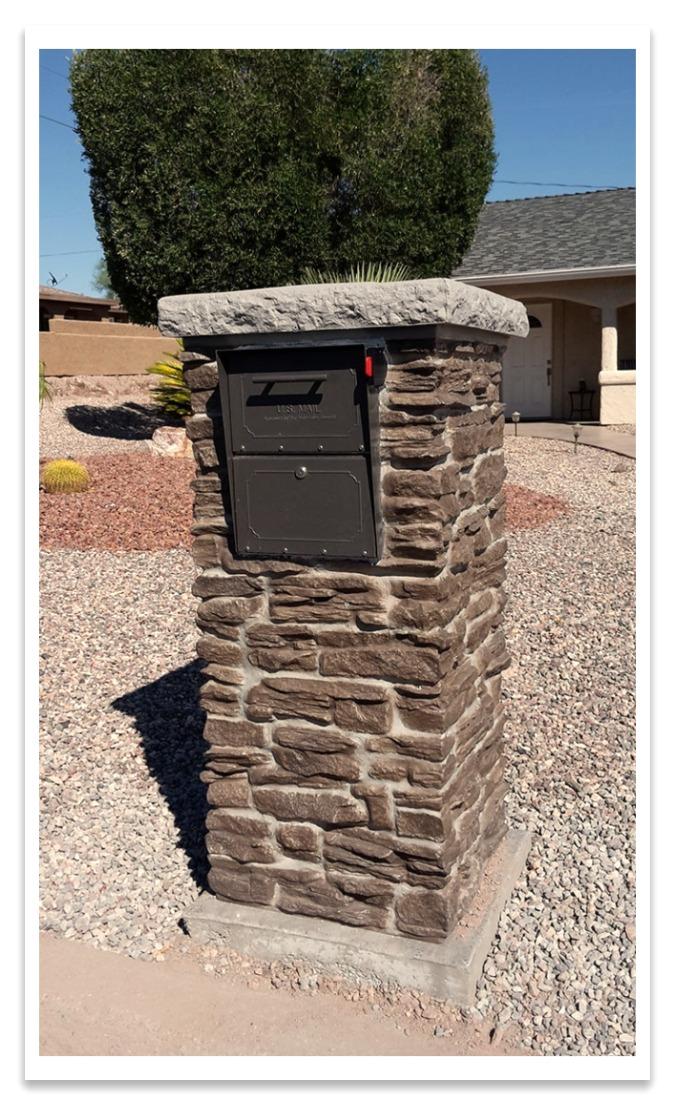 Mailbox and Ashford Ledgestone column in Brown