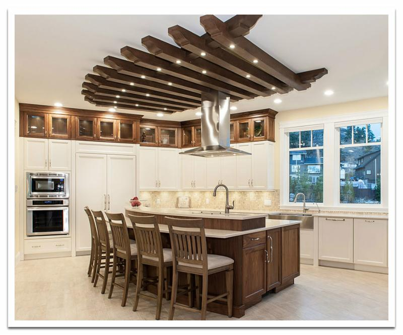 Kitchen ceiling treatment with beams