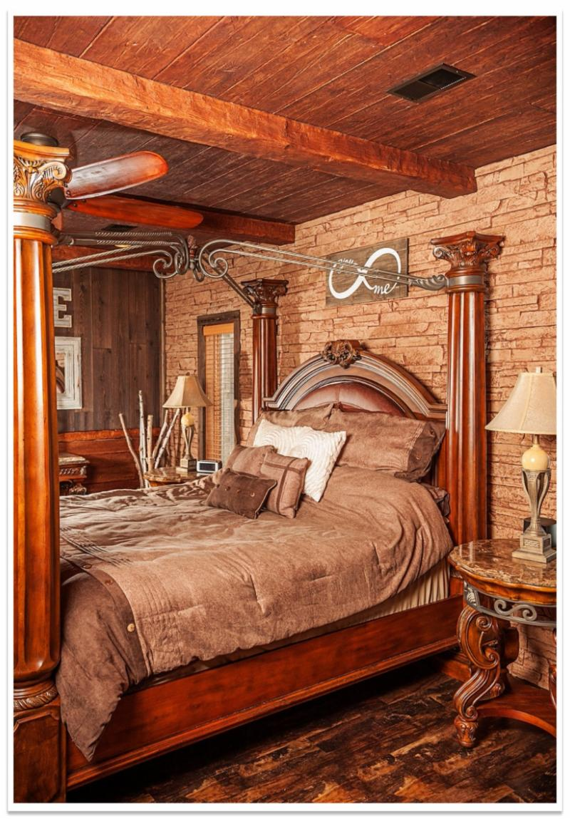 Bedroom with Custom Timber beams and planks