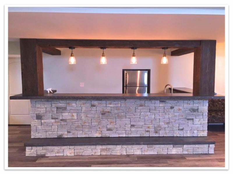 Basement bar with Heritage beams