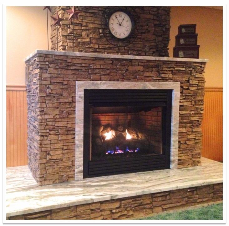 Fireplace with Norwich Stacked Stone Taffy Beige