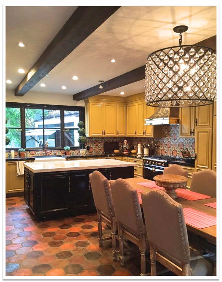Hand Hewn real wood beams in a kitchen.