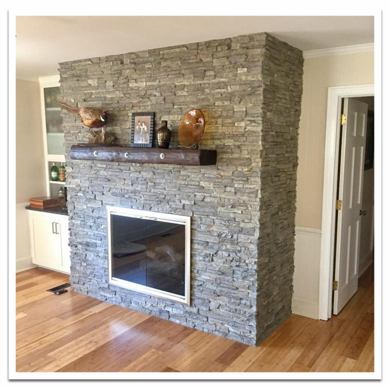 Fireplace with Norwich Stacked Stone Tall panels