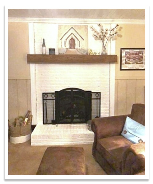 Fireplace with Custom Beachwood Mantel