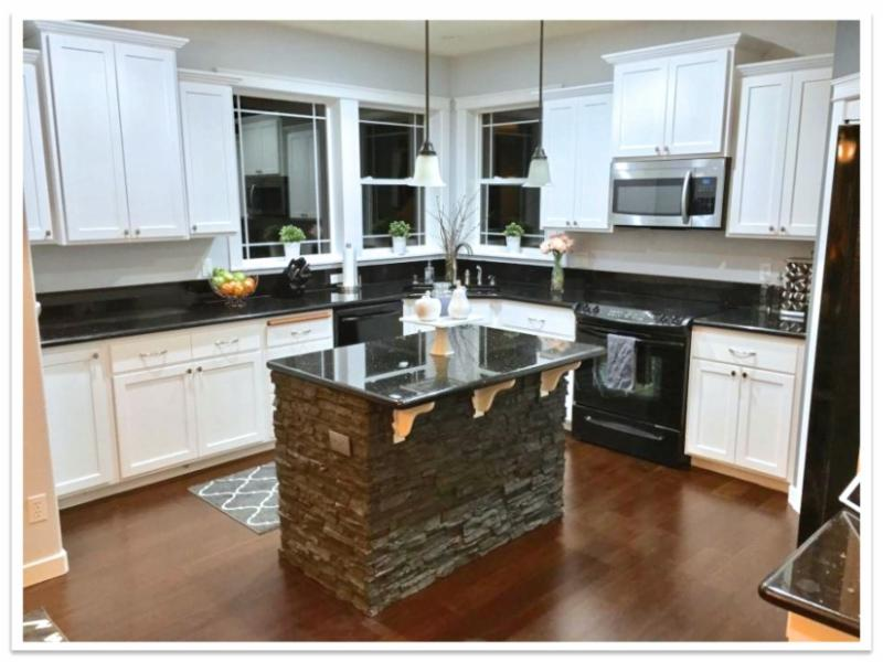 Kitchen island with Norwich Stacked Stone
