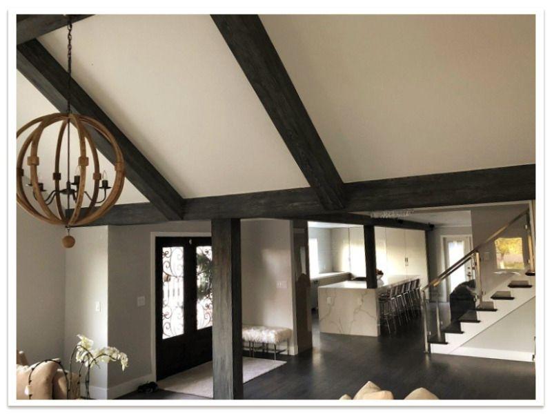 Open floor plan with Custom Driftwood Beams