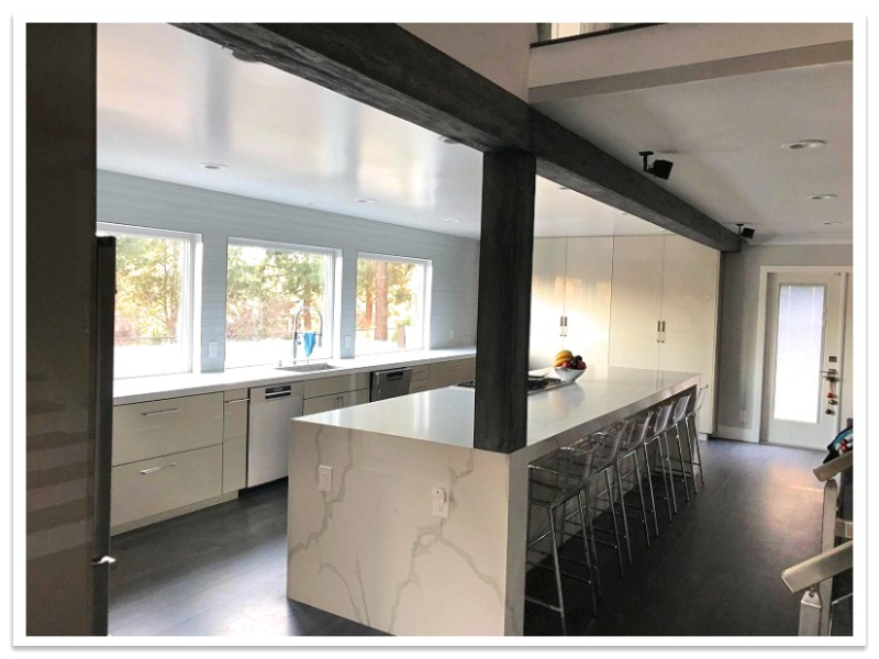 Kitchen with Custom Driftwood Beams