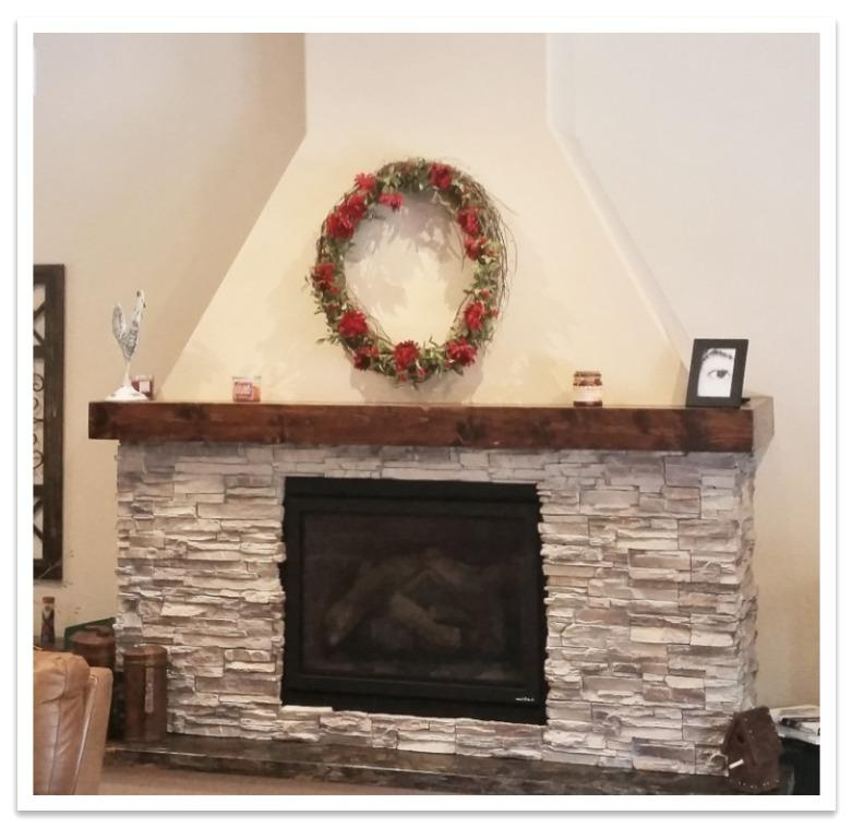 Fireplace with Norwich Stacked Stone Toasted Vanilla