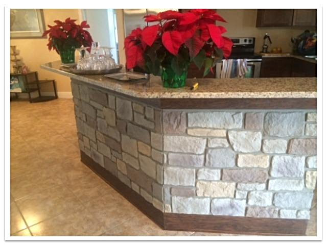 Kitchen island with Carlton Cobblestone Summer Tan