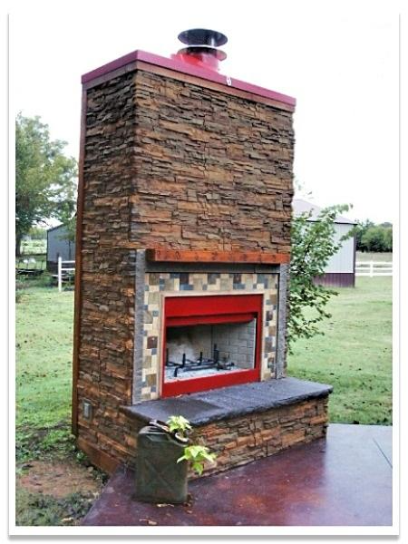 Outdoor fireplace with Regency Stacked Stone in Earth