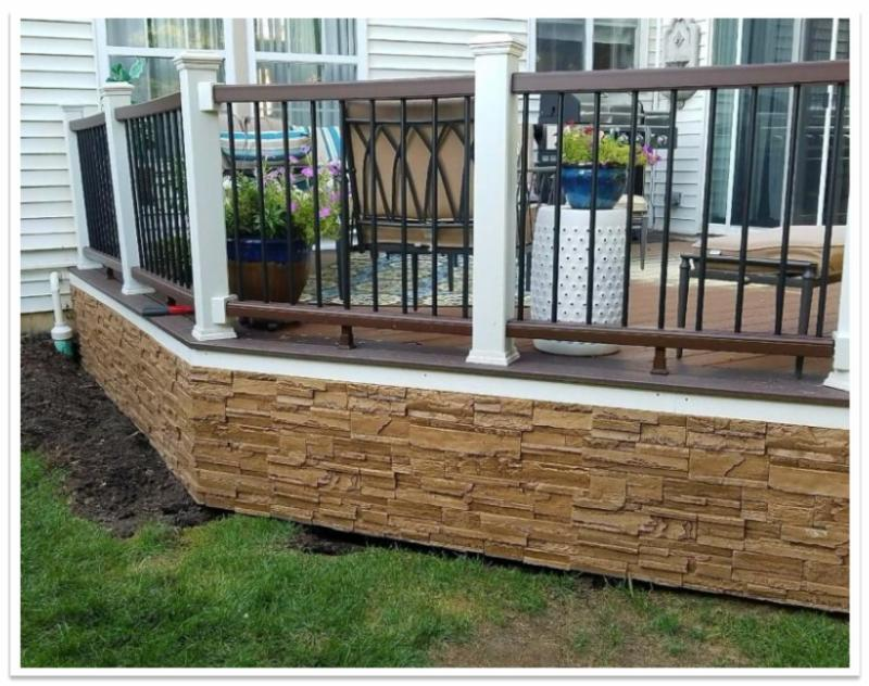 Deck skirting made from Norwich Kenucky Drystack