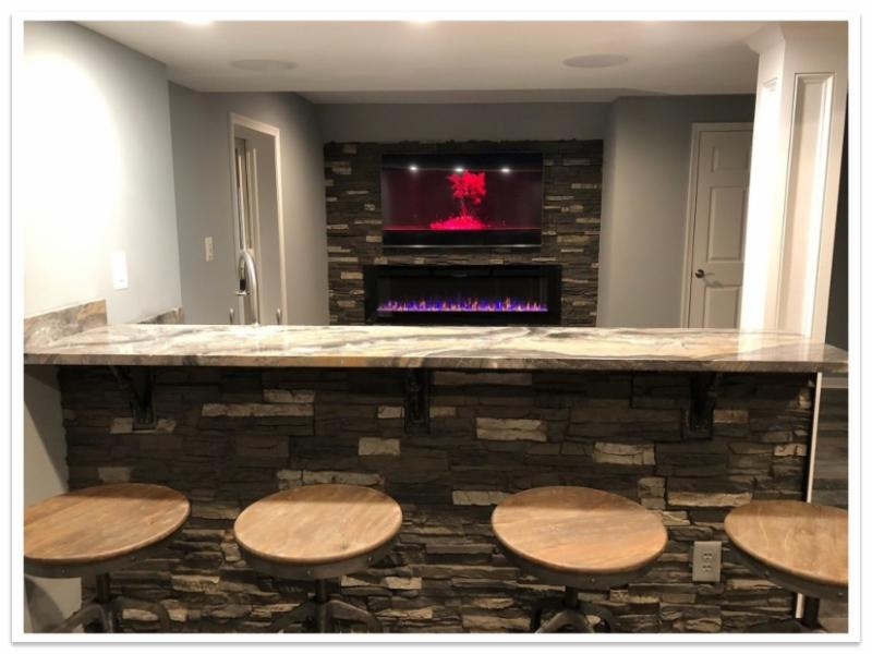 Bar and fireplace with Regency Stacked Stone
