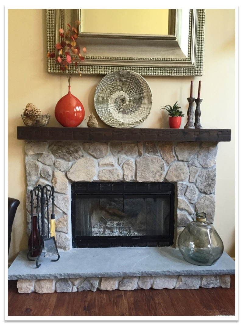 Fireplace after with Hand Hewn Mantel
