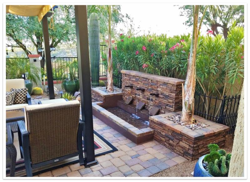 Patio fountain with Stacked Stone panels in Earth