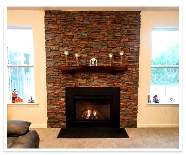 Fireplace with Stacked Stone panels