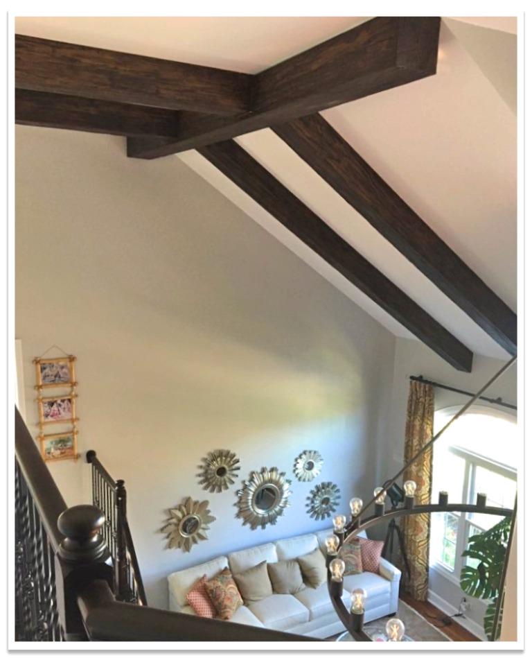 Heritage beams on vaulted ceiling.