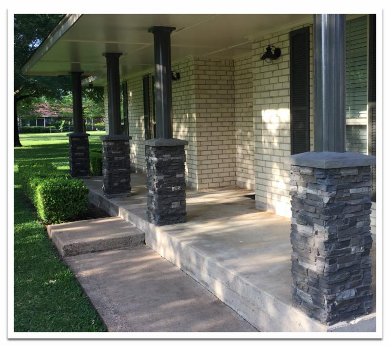 Norwich Stacked Stone column wraps in Iced Coffee