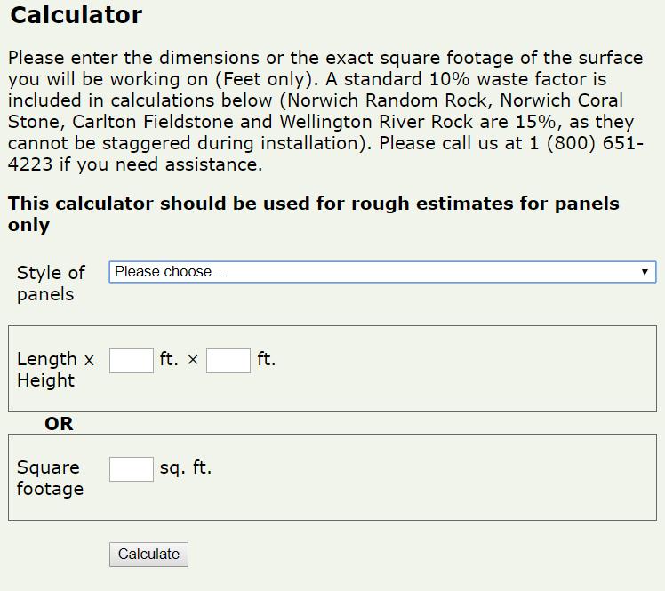 Panel calculator