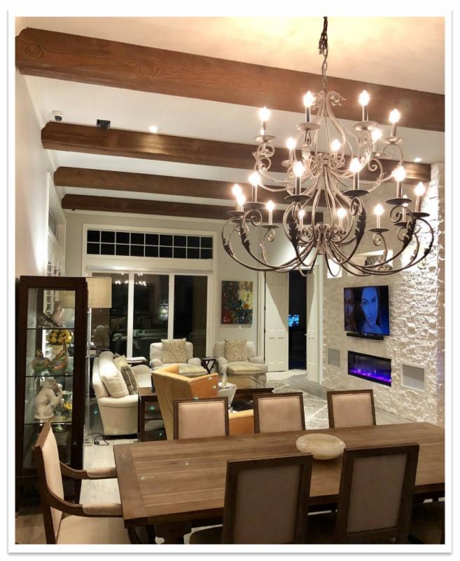 Dining room with Beachwood beams