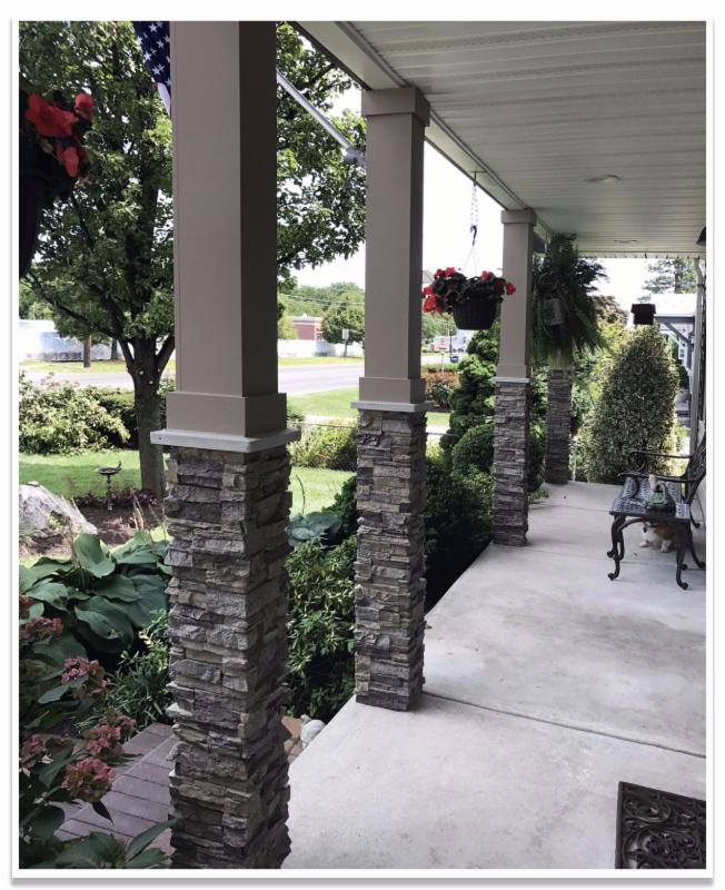 Porch with Norwich Stacked Stone column wraps