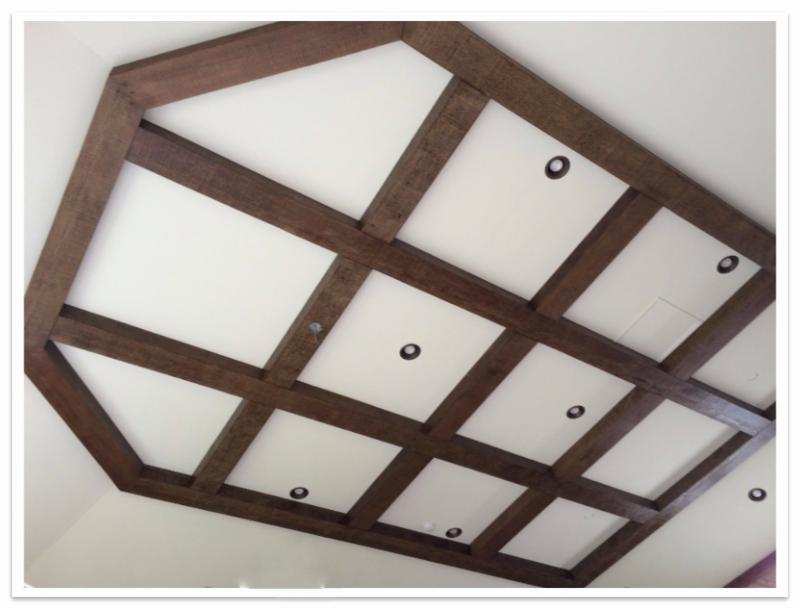 Rough Hewn beams in grid pattern