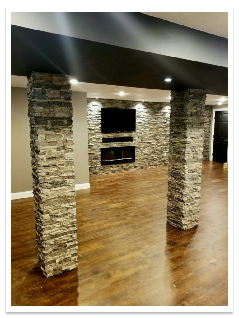 Basement with Norwich Stacked Stone columns