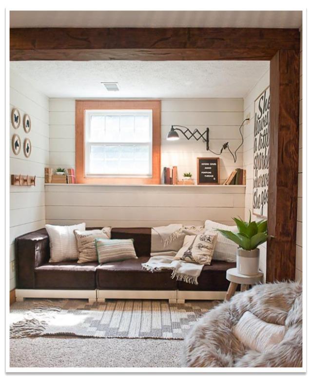 Bedroom reading nook with Hand Hewn beams