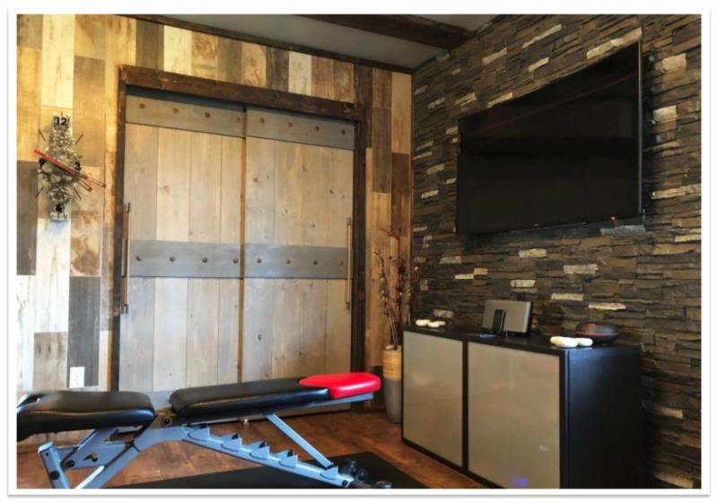 Gym accent wall in Iced Coffee