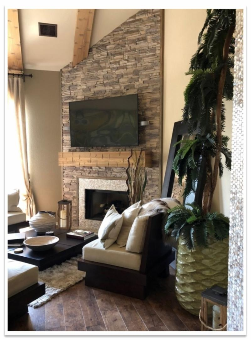 Living room fireplace wall