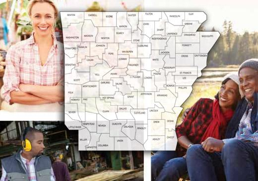 state of ARkansas map on top of photo collage of people