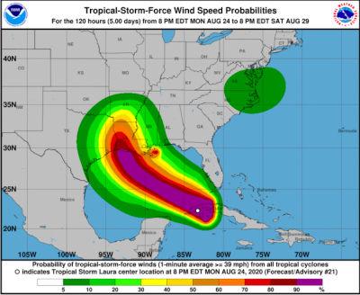 Hurricane Laura Winds