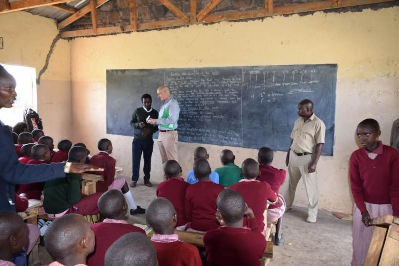 Dr. Ashley brings ASD students letters to Kenya classroom