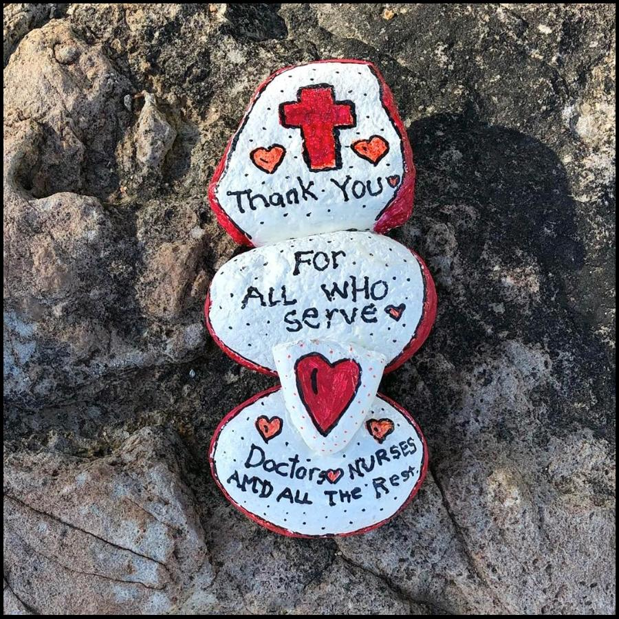 Thank you to all who serve painted rocks