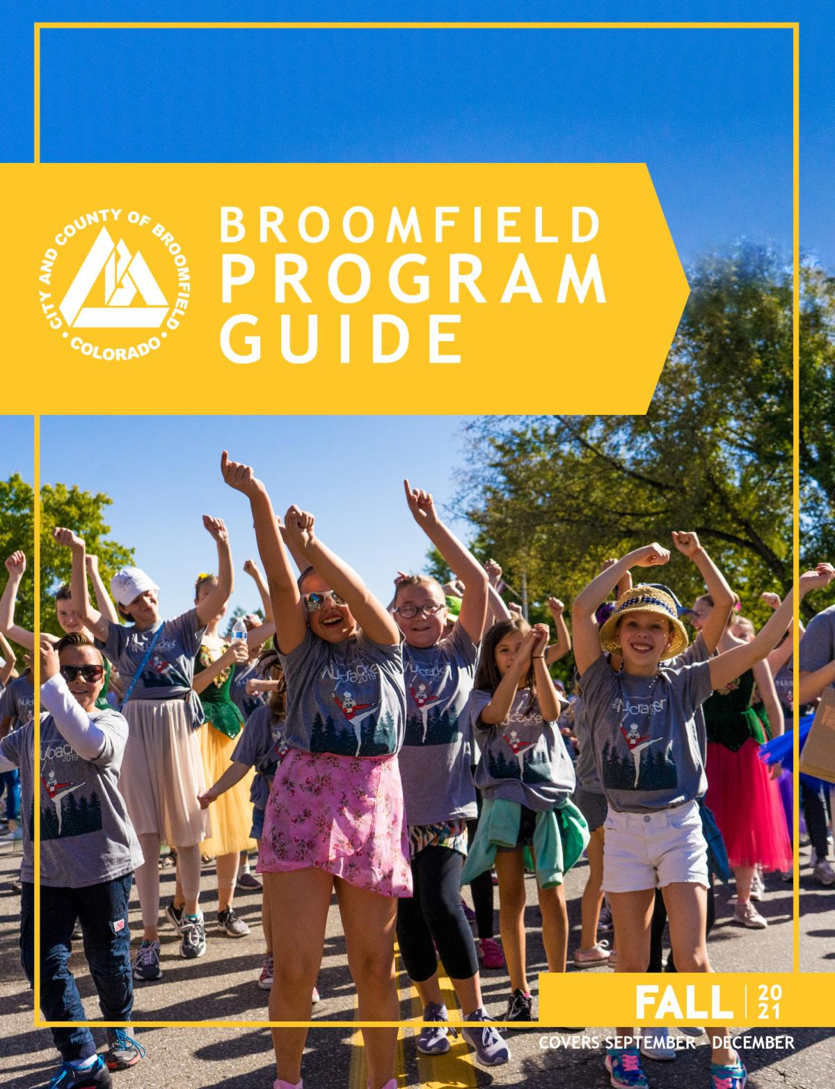 2021 Fall program Guide cover featureing dancing  youth in the Broomfield Days Parade