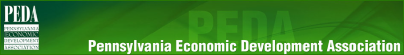 This banner includes the name of the Pennsylvania Economic Development Association (PEDA).