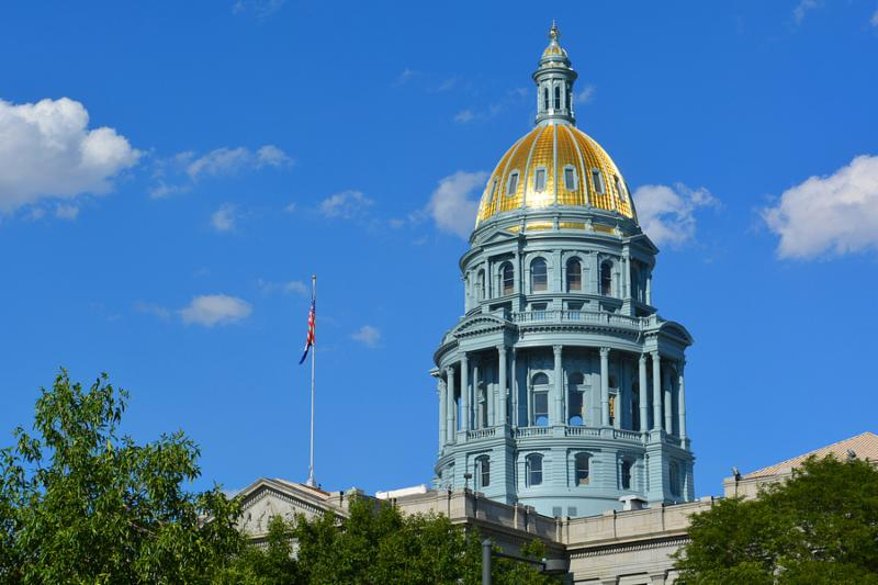 Colorado State Capitol Building Gold Dome on a Sunny Day.