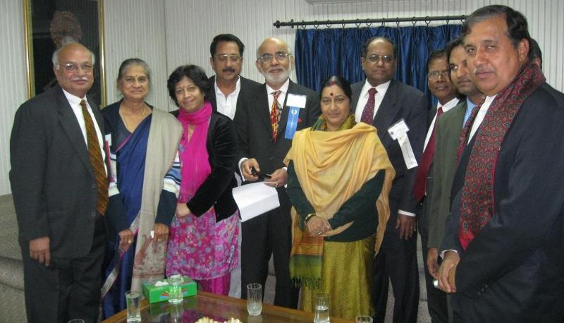GOPIO delegation meeting Leader of the Opposition Sushma Swaraj in Delhi