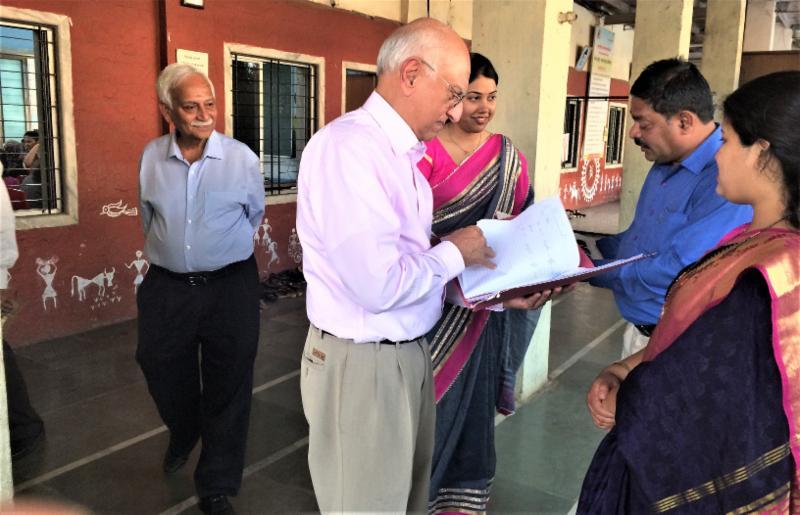 GOPIO Treasurer Viresh Sharma with SHED School officials in Dharavati