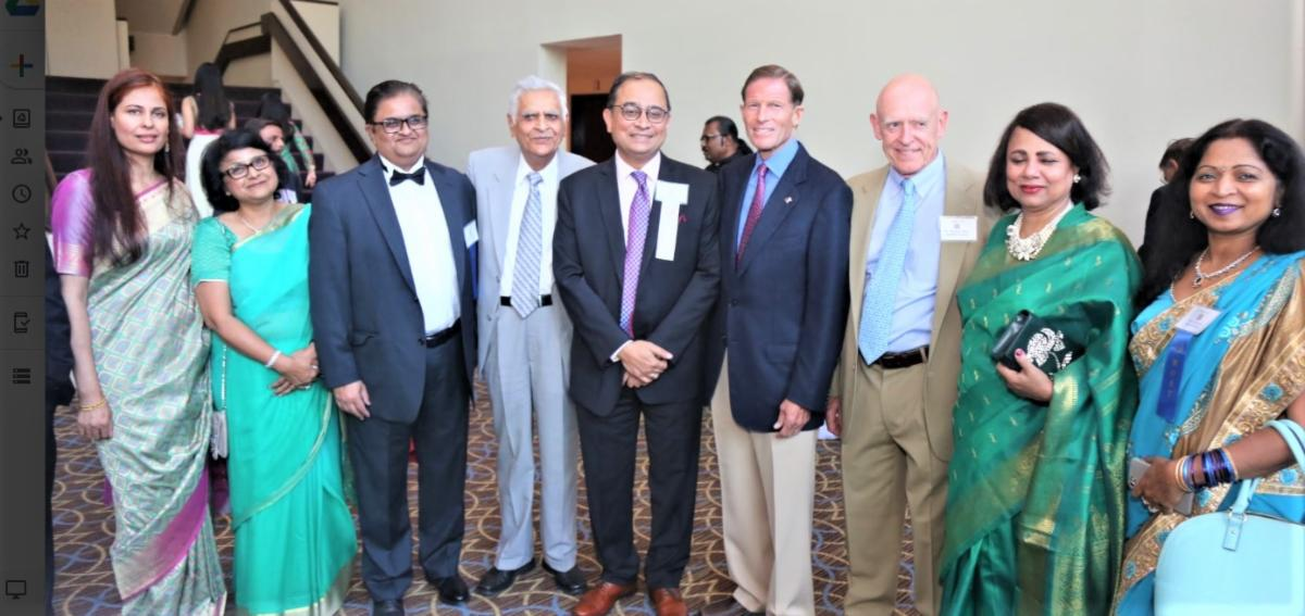 GOPIO-CT officers with SEnator Blumenthal and CG Chakravorty