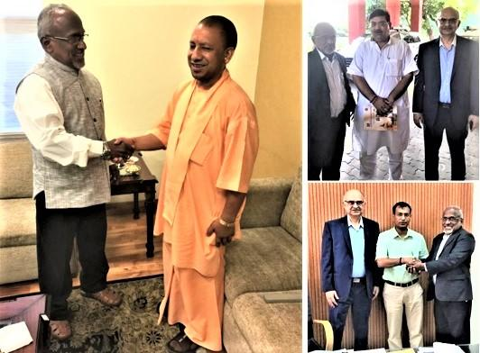 GOPIO Officials with UP Chief Minister ogi Adityanath and other officials