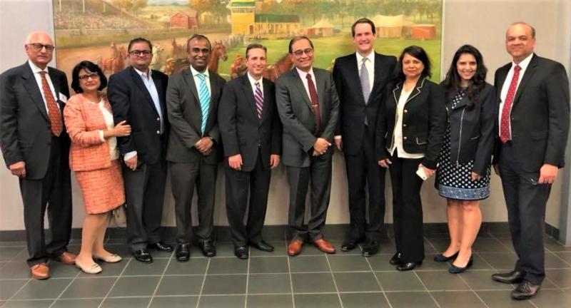 CG Sandeep Chakravorty with elected officials ay GOPIO-CT Mtg.