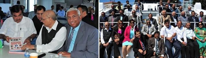 GOPIO officials with Minister Nitin Gadkari during LA Harbor boat ride