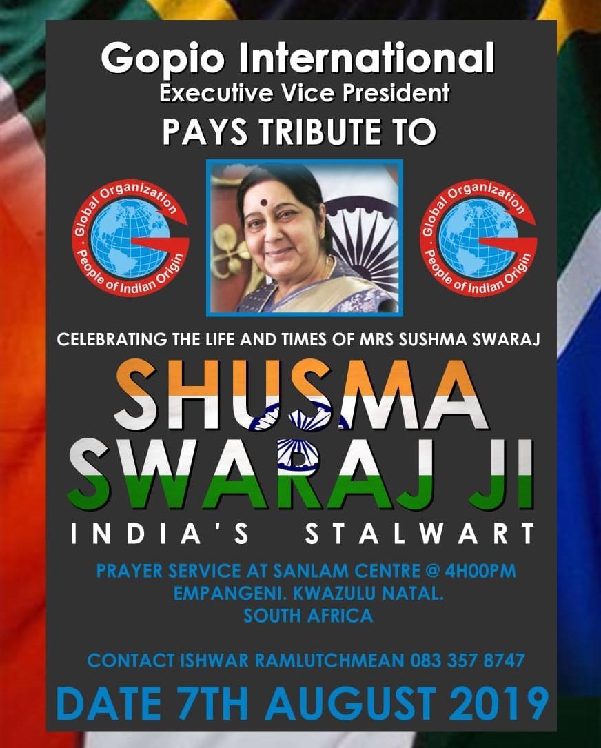 Prayers and Tributes to Late Sushma Swaraj