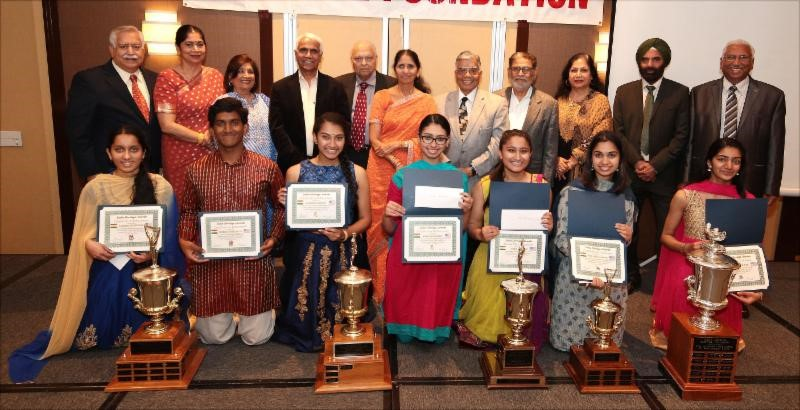 Organizers with Trophy winners and sponsors at the Indian American Heritage Awards 2018