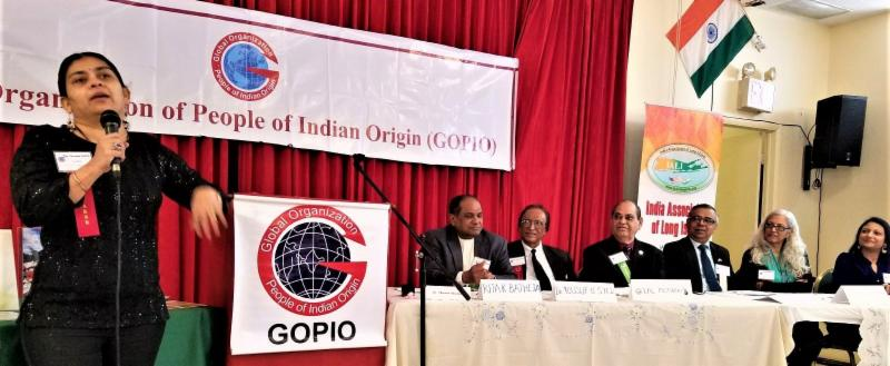 Dr.Vasudha Gupta speaking at GOPIO-New York Health Seminar