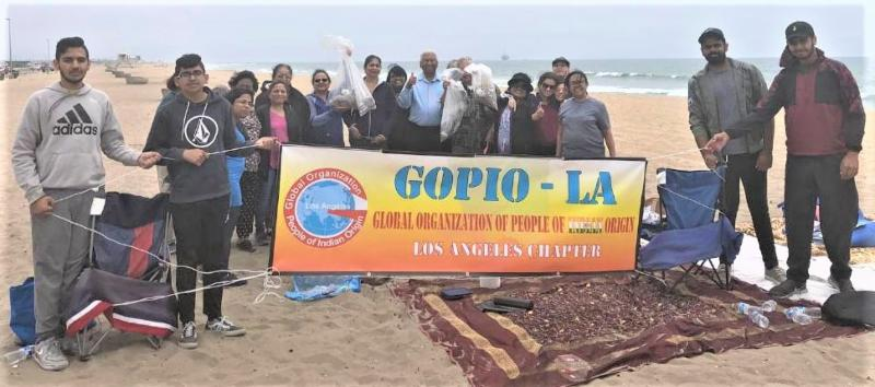 GOPIO-LA Members cleaning California's Huntington Beach