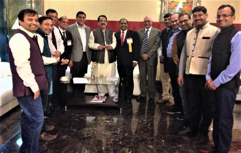 Minister Raj Purohit and Dr. Thomas Abraham with delegation from India