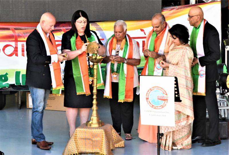 Inaugurating India Day Fair 2018 in Brisbane with lighting of the Diya