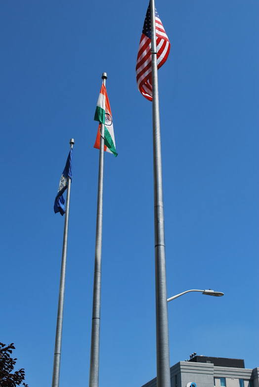 Indian flag along with US and Connecticut flags